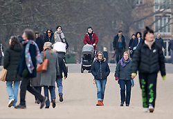 © Licensed to London News Pictures. 08/03/2021. London, UK. Members of the public relax in Hyde Park central London, on the day the lockdown restrictions are eased. From today (Monday) some rules have been relaxed, including children returning to school. Photo credit: Ben Cawthra/LNP
