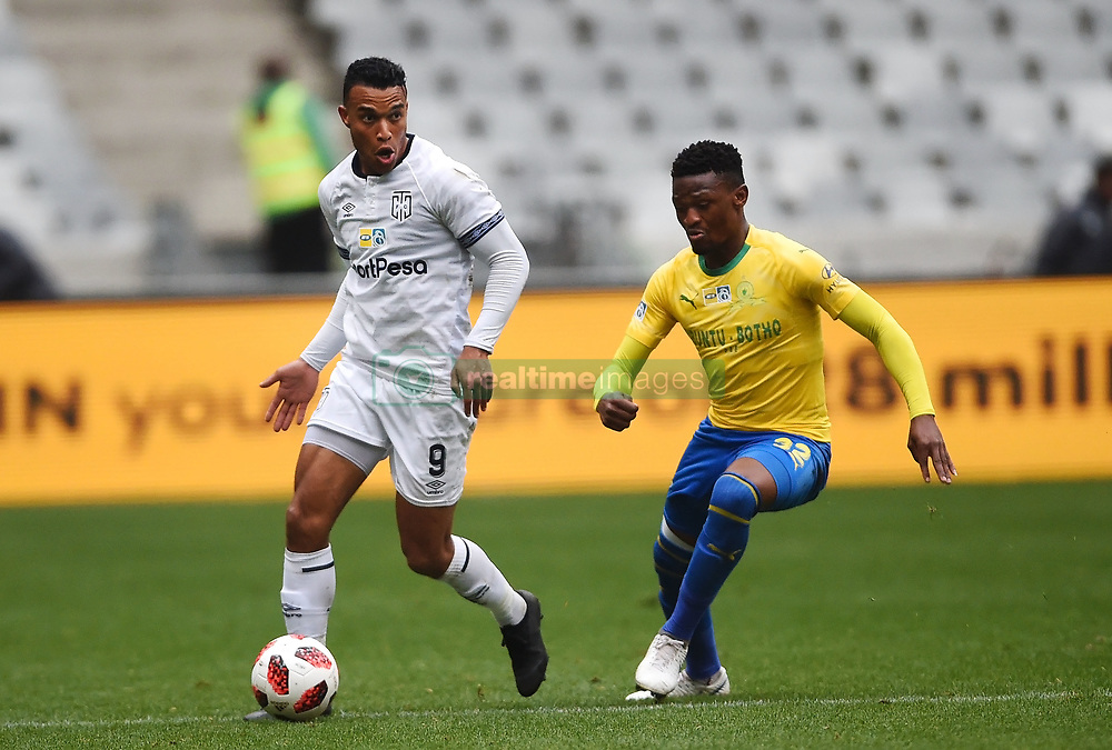 Cape Town-180825- Cape Town City striker Matthew Rusike challenged by Mamelodi Sundowns defender Matjeka Madisha  in the MTN 8 semi-final at Cape Town Stadum.Photographer :Phando Jikelo/African News Agency/ANA