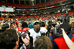 Philadelphia Eagles quarterback Michael Vick #7 after the NFL game between the Philadelphia Eagles and the Atlanta Falcons on December 6th 2009. The Eagles won 34-7 at The Georgia Dome in Atlanta, Georgia. (Photo By Brian Garfinkel)