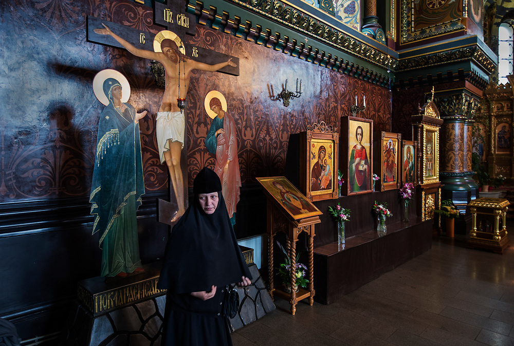 Orthodox service at Assumption Church ( Church of the Assumption of the Blessed Virgin ) - a stauropegic Orthodox Church on Vasilyevsky Island St. Petersburg