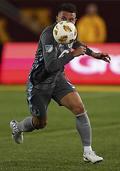 September 22, 2018 - Minneapolis, MN, USA - Minnesota United defender Francisco Calvo (5) eyes the ball in the first half against the Portland Timbers on Saturday, Sept. 22, 2018, at TCF Bank Stadium in Minneapolis. The host Loons won, 3-2. (Credit Image: © Aaron Lavinsky/Minneapolis Star Tribune/TNS via ZUMA Wire)