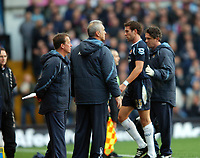 Aston Villa/West Ham United Premier League 03.02.07 <br />Photo: Tim Parker Fotosports International<br />Matthew Upson West Ham United is injured and substituted in his first match as manager Alan Curbishley looks