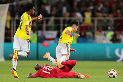July 3, 2018 - Moscow, Russia - defender Johan Mojica of Colombia National team, forward Radamel Falcao of Colombia National team in action with defender Ashley Young of England National team  during the round of 16 match between Colombia  and England at the FIFA World Cup 2018 at Spartak Stadium  in Moscow, Russia, Tuesday, July 3, 2018. (Credit Image: © Anatolij Medved/NurPhoto via ZUMA Press)