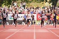 09.07.2019; Luzern; LEICHTATHLETIK - Spitzenleichtathletik Luzern, Taymir Burnet (NED), Kemar Hyman (CAY), Yoshihide Kiryu (JPN), Akani Simbine (RSA), Asafa Powell (JAM), Andrew Hudson (USA) 100m Maenner ; <br /> <br /> (Claudio Thoma/freshfocus)