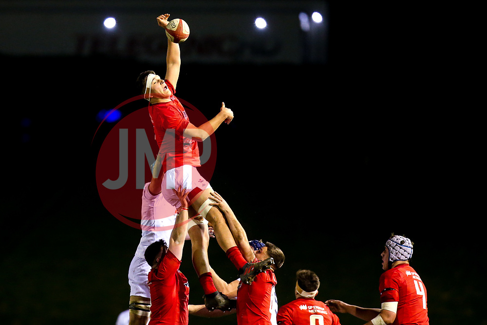 Teddy Williams of Wales U20 wins with ball at a line out - Mandatory by-line: Robbie Stephenson/JMP - 22/02/2019 - RUGBY - Zip World Stadium - Colwyn Bay, Wales - Wales U20 v England U20 - Under-20 Six Nations