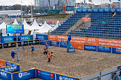 Centercourt with Christiaan Varenhorst, Steven van de Velde in action. The DELA NK Beach volleyball for men and women will be played in The Hague Beach Stadium on the beach of Scheveningen on 22 July 2020 in Zaandam.