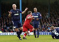 Photo: Olly Greenwood.<br />Southend United v Carlisle United. Coca Cola League 1. 27/10/2007. Carlisle's Joe Garner celebrates scoring while Southend's Adam Barret looks on