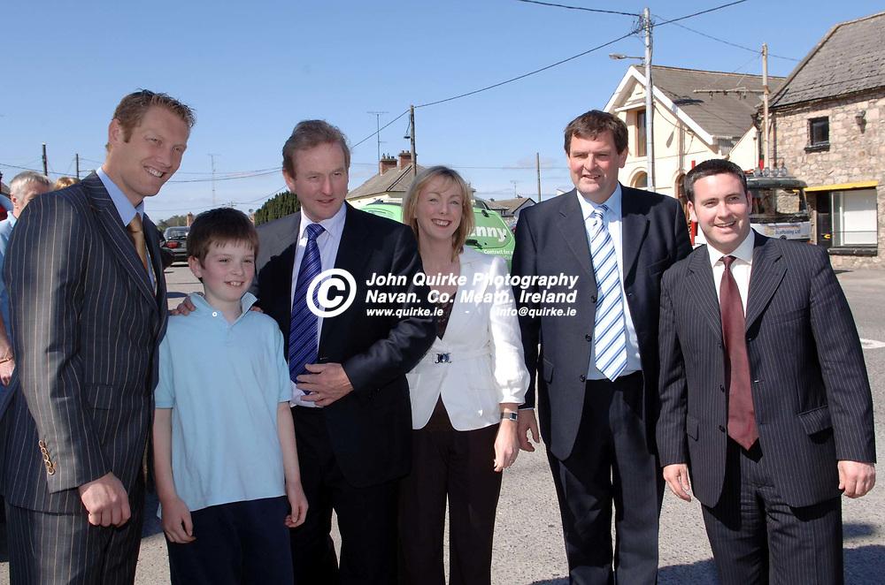 18-04-07. <br /> Enda Kenny, T.D. Leader of Fine Gael on a pre election visit to Nobber.<br /> L to R: Graham Geraghty, Tony McEntee, Enda Kenny, T.D. Regina Doherty, Shane McEntee, T.D., and Damien English, T.D.<br /> Photo: John Quirke / www.quirke.ie<br /> ©John Quirke Photography, Unit 17, Blackcastle Shopping Cte.<br /> Navan. Co. Meath. 046-9079044 / 087-2579454.