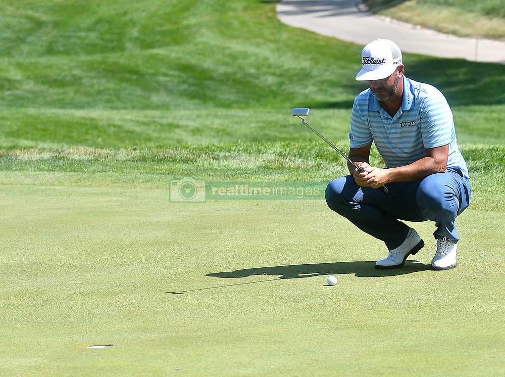July 13, 2018 - Silvis, Illinois, U.S. - SILVIS, IL - JULY 13:  Scott Piercy ponders his upcoming putt on the #1 green during the second round of the John Deere Classic on July 13, 2018, at TPC Deere Run, Silvis, IL.  (Photo by Keith Gillett/Icon Sportswire) (Credit Image: © Keith Gillett/Icon SMI via ZUMA Press)