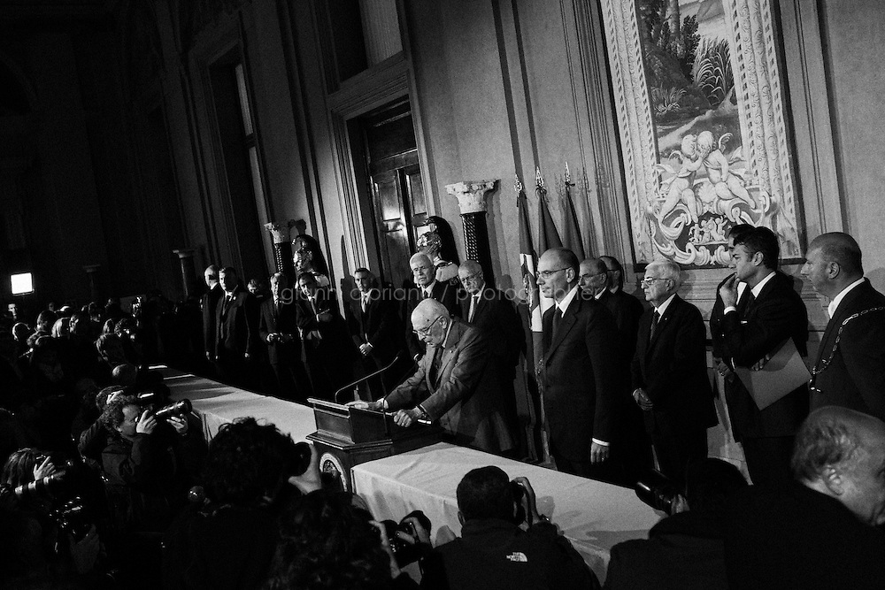ROME, ITALY - 27 APRIL 2013: Italian prime minister-designate leftist Enrico Letta announces his new government after a meeting with Italy's President at the Quirinale presidential palace on April 27, 2013 in Rome.