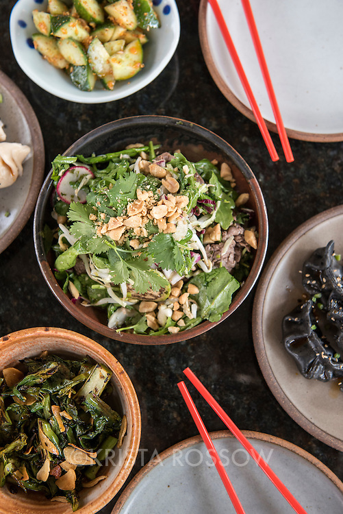 Dumplings, Thai beef salad, Szechuan cucumbers, and gai lon (Chinese broccoli) at Gan Shan Station, an Asian fusion restaurant at 143 Charlotte Street in the North Asheville neighborhood of Asheville, North Carolina.