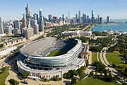 Aerial drone image of Soldier Field and the Chicago skyline. Photo by Mark Black