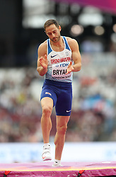 London, August 11 2017 . Ashley Bryant, Great Britain, in the men's decathlon high jump on day eight of the IAAF London 2017 world Championships at the London Stadium. © Paul Davey.