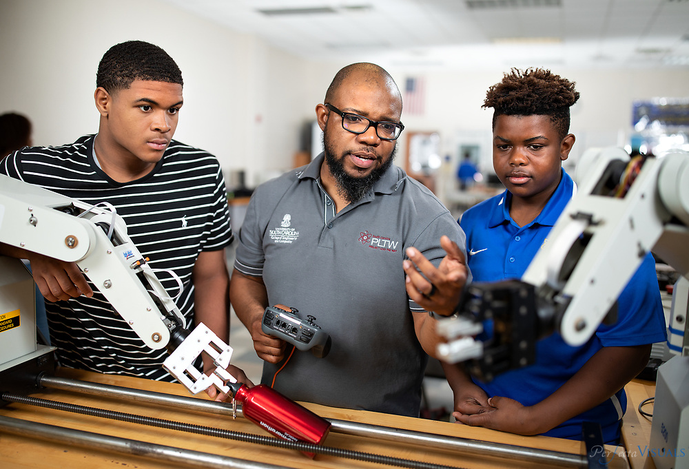 Dudley High School's Donald Sweeper teaches several Project Lead The Way courses, including Introduction to Engineering Design, Principles of Engineering, Environmental Sustainability and Engineering Design and Development.<br /> <br /> Students, left to right.<br /> <br /> Hezechiah Curtis 10th grade<br /> Barrett Crawford 10th grade<br /> <br /> Photographed, Wednesday, May 9, 2018, in Greensboro, N.C. JERRY WOLFORD and SCOTT MUTHERSBAUGH / Perfecta Visuals