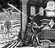 The fold-out frontispiece, shown above, is duplicated following the title page for Eikon Basilike Engraving of King Charles I, with storms besetting the ship of state in the background.