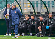 Sunderland Manager Lee Johnson and Plymouth Argyle Manager Ryan Lowe looks on from the dugout  during the EFL Sky Bet League 1 match between Plymouth Argyle and Sunderland at Home Park, Plymouth, England on 1 May 2021.