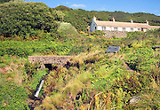 Row of old mill cottages, Trefin, Pembrokeshire, Wales