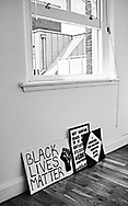 """London, England - May 11, 2020: Homemade """"black lives matter"""" support signs"""