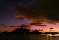 Mt. Otemanu at twilight, Bora Bora, Society Islands, French Polynesia.