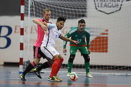 Raoni Medina of England holds off Craig McCleish of Scotland. England v Scotland match, Home nations Futsal tournament at the Cardiff city House of Sport in Cardiff, South Wales on Friday 2nd December 2016. This inaugural tournament played over 3 days brings together teams from Wales, England, Scotland and Northern Ireland. <br /> pic by Andrew Orchard, Andrew Orchard sports photography.
