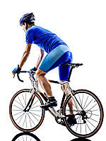 one cyclist road bicycle rear view in silhouette on white background