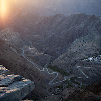 """Sunrise over a valley village in Jabal Akhdar a name meaning """"green mountain"""" in Arabic for the lush agriculture that is supported by higher altitude and precipitation that other areas of Oman."""
