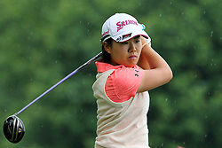 June 16, 2018 - Belmont, Michigan, United States - Nasa Hataoka hits from the 5th tee in the rain during the third round of the Meijer LPGA Classic golf tournament at Blythefield Country Club in Belmont, MI, USA  Saturday, June 16, 2018. (Credit Image: © Amy Lemus/NurPhoto via ZUMA Press)
