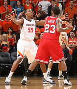 Virginia's Jerome Meyinesse_Virginia held North Carolina State scoreless for more than 7 minutes on the way to a 59-47 victory Wednesday night at the John Paul Jones Arena in Charlottesville, VA. Virginia (14-6, 5-2 Atlantic Coast Conference) regained a share of first place in the conference. (Photo/Andrew Shurtleff)....