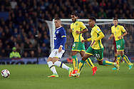 Ross Barkley of Everton passes the ball under pressure from Louis Thompson (c) and Josh Murphy of Norwich City. EFL Cup, 3rd round match, Everton v Norwich city at Goodison Park in Liverpool, Merseyside on Tuesday 20th September 2016.<br /> pic by Chris Stading, Andrew Orchard sports photography.