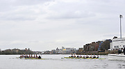 Putney, London,  Oxford left ton the Surrey station as the crews approach, Fulham Football Ground, [Craven Cottage] during  the 156th University Boat Race  over  the Championship Course,  Putney to Mortlake. on Saturday  03/04/2010 [Mandatory Credit Peter Spurrier/ Intersport Images] <br /> <br /> CUBC Crew, Bow - Rob WEITEMEYER, Geoff ROTH, George NASH, Peter McCELLAND, Deaglan McEACHERN, Henry PELLY, Derek RASMUSSEN, Stroke - Fred GILL and Cox - Ted RANDOLPH<br /> <br /> OUBC crew, Bow - Ben MYERS, Martin WALSH, Tyler WINKLEVOSS, Cameron WINKLEVOSS, Sjoerd HAMBURGER, Matt EVANS, Simon GAWLIK, Stroke - Charlie BURKITT and Cox - Adam BARHAMAND