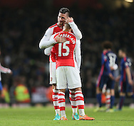 Arsenal's Olivier Giroud consoles Alex Oxlade-Chamberlain at the final whistle<br /> <br /> Barclays Premier League- Arsenal vs Manchester United - Emirates Stadium - England - 22nd November 2014 - Picture David Klein/Sportimage