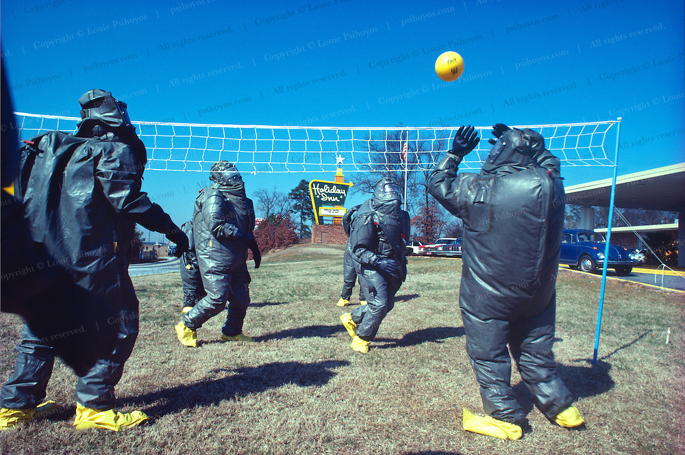 There was a convention of hazardous waste workers at a Holiday Inn where inspectors learned to work in these uncomfortable protective suits by playing games.  It made for some interesting looks for vacationeers checking in.