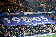 """a large Chelsea""""1905"""" banner is seen in the stand before k/o. Premier league match, Chelsea v Tottenham Hotspur at Stamford Bridge in London on Saturday 26th November 2016.<br /> pic by John Patrick Fletcher, Andrew Orchard sports photography."""