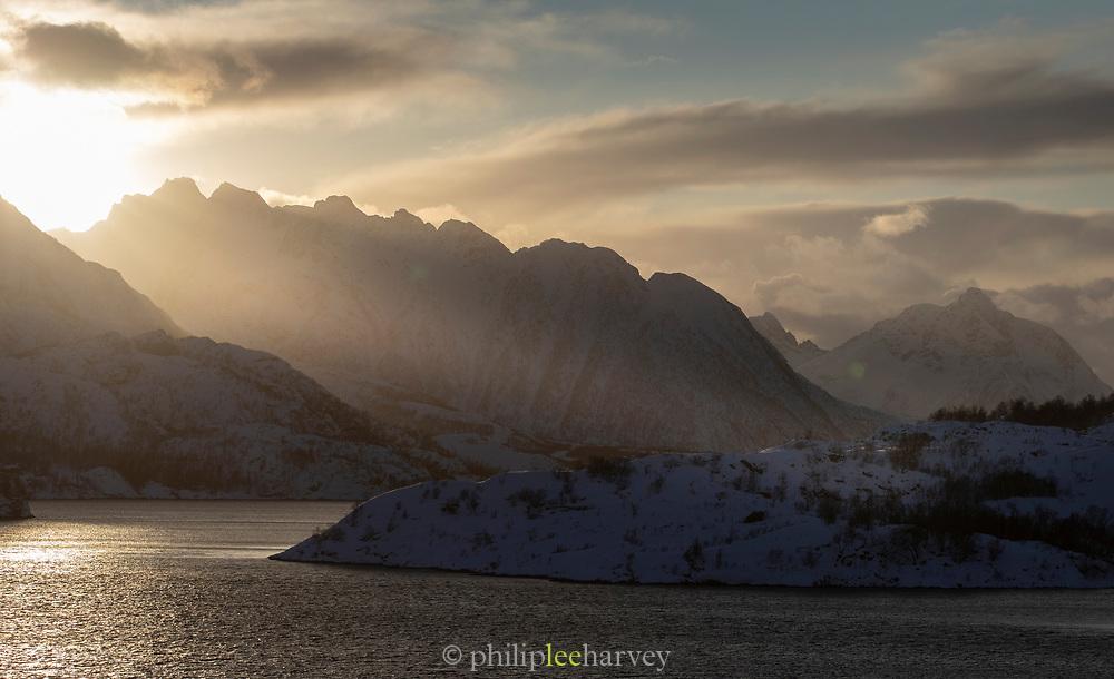 Scenic view of mountain range at sunset, Nesna, Norway