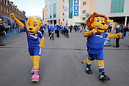 Chelsea mascots leading out the Chelsea Brass Band outside Stamford  Bridge before k/o.  Barclays Premier league match, Chelsea v Everton at Stamford Bridge in London on Saturday 16th January 2016.<br /> pic by John Patrick Fletcher, Andrew Orchard sports photography.