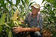 """Jim Barton, photographed Thursday, July 19, 2007, near Georgetown, Ky., on the Barton Brothers Farm. Jim and his brother Robert """"Bob"""" Barton raise 800 acres of corn, 150 acres of tobacco, wheat, soybeans, and enough sweet corn to put their kids through college. (RAW file available upon request.).Photo by Brian Bohannon/www.brianbohannon.com"""