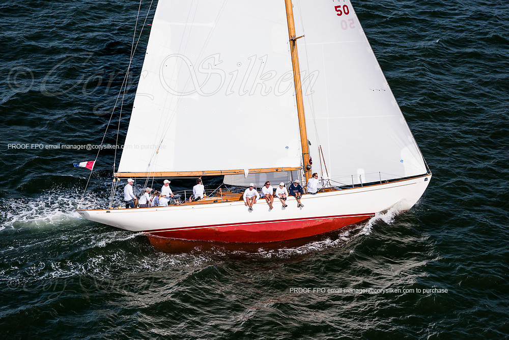 Sonny sailing in the Panerai Newport Classic Yacht Regatta, day one.