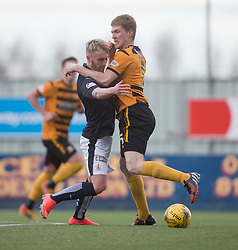 Falkirk's Craig Sibbald and Alloa Athletic's Colin Hamilton. <br /> Falkirk 2 v 0 Alloa Athletic, Scottish Championship game played 5/3/2016 at The Falkirk Stadium.