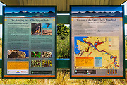 Interpretive sign at the Upper Clutha River Track, Central Otago, South Island, New Zealand