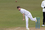 Liam Dawson bowling during Day 3 of the LV= Insurance County Championship match between Leicestershire County Cricket Club and Hampshire County Cricket Club at the Uptonsteel County Ground, Leicester, United Kingdom on 10 April 2021.