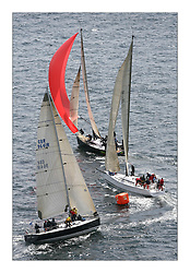 Sailing - The 2007 Bell Lawrie Scottish Series hosted by the Clyde Cruising Club, Tarbert, Loch Fyne..Graham Technology fleet at Windward Mark with the Irish Jump Juice, the English Uxorious and the the Scots in Local Hero...