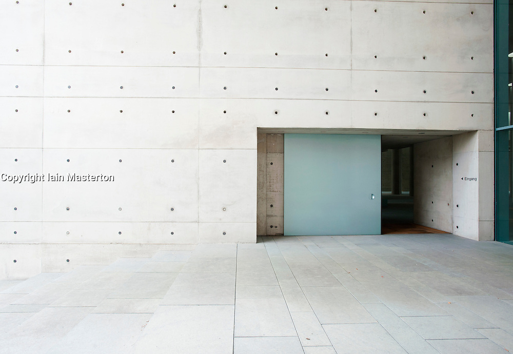 Entrance to modern crematorium at Baumschulenweg cemetery in Treptow  Berlin Germany; Architect Axel Schultes