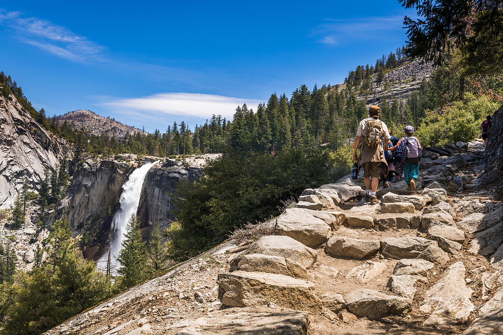 Family on the John Muir Trail below Nevada Fall , Yosemite National Park, California USA