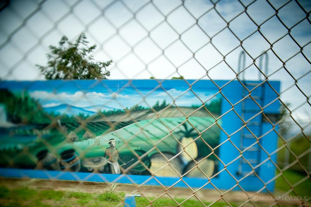 Murale sur un bassin de traitement de l'eau potable. Monocultures d'ananas de la multinationale Del Monte. Buenos Aires, Costa Rica 2010.