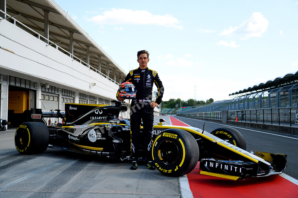 Christian Lundgaard (Renault R.S. 17)  in front of his car during his first Formula 1 test at the Hungaroring outside Budapest in Hungary in September 2019. Photo: Grand Prix Photo/Lise Nygaard