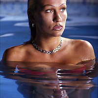 Woman in a pool .