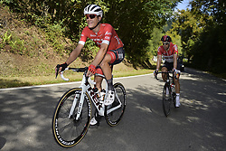 September 12, 2018 - Namur, BELGIUM - Belgian Jasper Stuyven of Trek-Segafredo and Belgian Jens Debusschere of Lotto Soudal pictured in action during the 59th edition of the one day cycling race Grand Prix de Wallonie (205,9km) from Blegny to the Citadelle de Namur, in Namur, Wednesday 12 September 2018. BELGA PHOTO YORICK JANSENS (Credit Image: © Yorick Jansens/Belga via ZUMA Press)