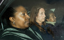 © London News Pictures. 12/02/2016. London, UK.  Sian Blake family members AVA (L) and PANSY BLAKE (R), sister and mother, of the murdered actress arrive at Westminster Magistrates Court where suspect ARTHUR SIMPSON-KENT is expected to appear later. Kent was arrested  on suspicion of murdering former Eastenders actress Sian Blake when he landed at Heathrow airport after being extradited from Ghana where he was originally apprehended. Photo credit: Ben Cawthra/LNP