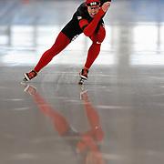 September 18, 2010 - Kearns, Utah - Parker Vance races in long track speedskating time-trials held at the Utah Olympic Oval.