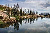 A reflection of pine trees in the calm waters of Cecret Lake in Utah's Wasatch Mountains.